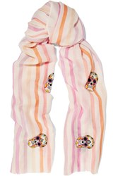 Janavi Embellished Striped Cashmere And Merino Wool Blend Scarf Pastel Pink