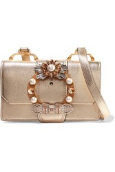 Miu Miu Embellished Metallic Textured Leather Shoulder Bag Gold