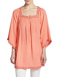 Calypso St. Barth Entina Cotton Peasant Blouse Pink