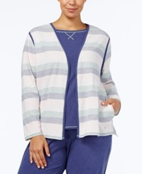 Nautica Plus Size Brushed Jersey Pajama Cardigan Multi