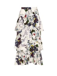 Erdem Simone Forget Me Not Print Silk Crepe Skirt White Multi