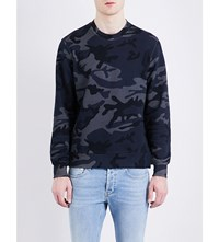 Sandro Crewneck Cotton Jersey Sweatshirt Navy Blue