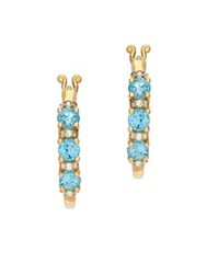 Lord And Taylor 14K Yellow Gold Diamond Blue Topaz Hoop Earrings