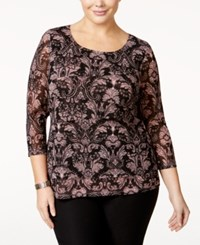 Alfani Plus Size Tiered Printed Mesh Top Only At Macy's Brocade Woodrose