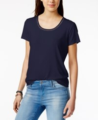 Tommy Hilfiger Crochet Trim T Shirt Only At Macy's Navy