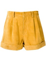 Isabel Marant Gathered High Waist Shorts Yellow
