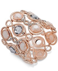 Inc International Concepts Stone And Crystal Filigree Stretch Bracelet Only At Macy's Rose Gold
