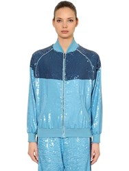 Alberta Ferretti Two Tone Sequined Track Jacket Blue