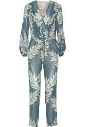 Sass And Bide Eye Spy Printed Georgette Jumpsuit Blue