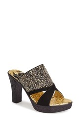 Women's Love And Liberty 'Dallas' Embellished Stretch Sandal Black