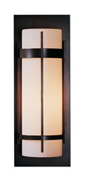 Hubbardton Forge Banded Large Outdoor Sconce Incandescent Natural Iron Opal Silver