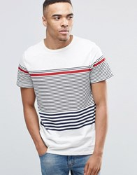 New Look Striped T Shirt In White Red Multi Stripe