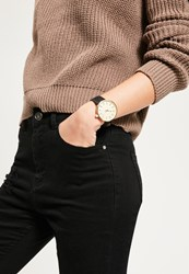 Missguided Gold Large Face Contrast Strap Watch Black