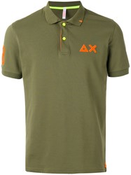 Sun 68 Contrast Logo Polo Shirt Men Cotton Spandex Elastane L Green