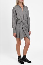 Isabel Marant Women S Khol Tie Front Tweed Dress Boutique1 Grey