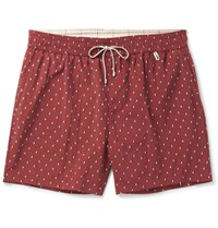 Loro Piana Slim Fit Mid Length Printed Swim Shorts Burgundy