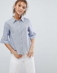 Maison Scotch Stripe Shirt With 3 4 Flared Sleeves Blue