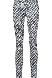 Proenza Schouler Mid Rise Printed Skinny Jeans Ivory