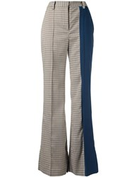 Eudon Choi Tina Checked Flared Trousers Brown