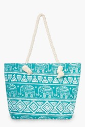 Boohoo Tilly Elephant Aztec Print Beach Bag Turquoise