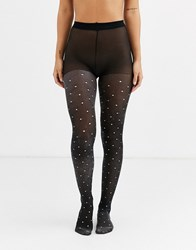 Gipsy Sheer Sparkle Polka Dot Tights In Black And Silver