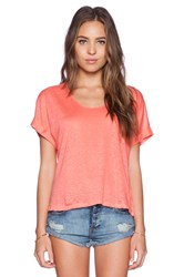 Candc California Short Sleeve Crop Tee Coral