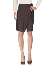 Hope Collection Knee Length Skirts Dark Brown