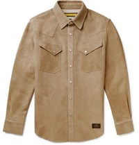 Neighborhood Slim Fit Suede Overshirt Beige