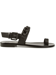 Giuseppe Zanotti Design Black Chain Trim Sandals