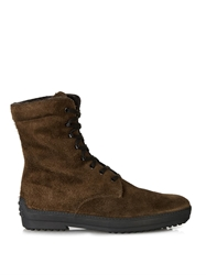 Tod's Shearling Lined Suede Winter Boots