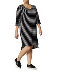 Junarose Plus Striped Three Quarter Sleeve Shift Dress Black