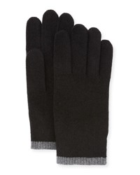 Portolano Cashmere Gloves W Contrast Tipping Black Dark Heather Gray