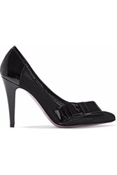 Just Cavalli Bow Detailed Patent Leather Trimmed Mesh Pumps Black