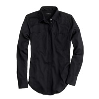 J.Crew Tall Silk Pocket Blouse Black