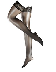 Falke Matte Deluxe 20 Stay Up Paisley Band Thigh High Tights Black