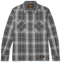 Neighborhood Logger Slim Fit Checked Cotton Flannel Shirt Gray
