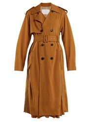 Toga Double Breasted Side Zip Trench Coat Camel
