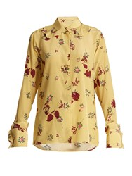 Valentino Floral Print Silk Crepe De Chine Shirt Yellow Print