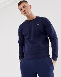 Lacoste Sport Logo Crew Neck Sweat In Navy