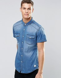 Esprit Short Sleeve Denim Shirt In Mid Wash Mid Wash Blue