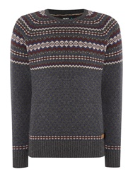 Army And Navy Regis Fairisle Crew Neck Charcoal