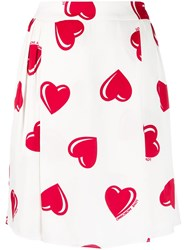 Moschino Vintage 2000'S Heart Printed Skirt White