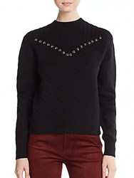 Rebecca Minkoff Durand Studded Wool And Cashmere Sweater Black