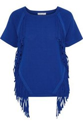 Milly Woman Fringe Trimmed Stretch Knit T Shirt Royal Blue