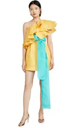 Prabal Gurung Carsix One Shoulder Ruffle Dress Yellow