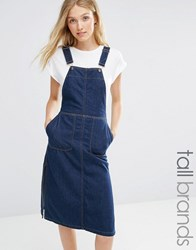 Vero Moda Tall Denim Dungaree Dress Dark Blue Denim