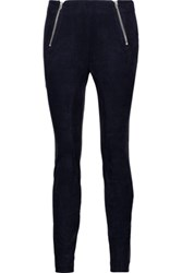 Alexander Wang T By Cotton Blend Velvet Leggings Midnight Blue