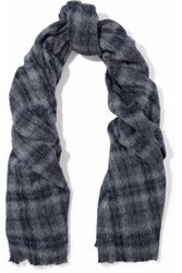 Brunello Cucinelli Checked Alpaca And Wool Blend Scarf Anthracite