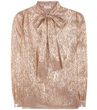 Saint Laurent Silk Blend Pussy Bow Blouse Metallic