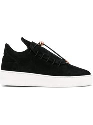 Filling Pieces Elongated Tongue Sneakers Women Leather Suede Rubber 38 Black